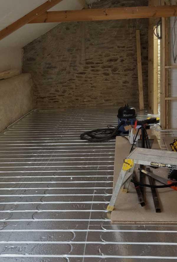 Underfloor heating being laid